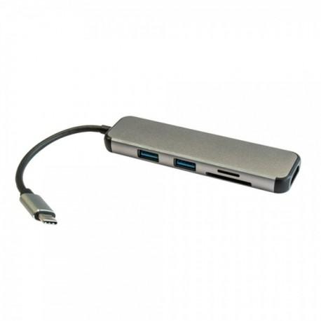 HUB USB 3.0 TYPE-C 2P USB-A + CR + HDMI