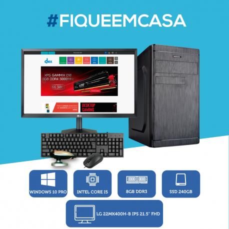 """Desktop i5 8GB 240 SSD + Monitor 22 FULL HD"""" + Teclado e Rato"""