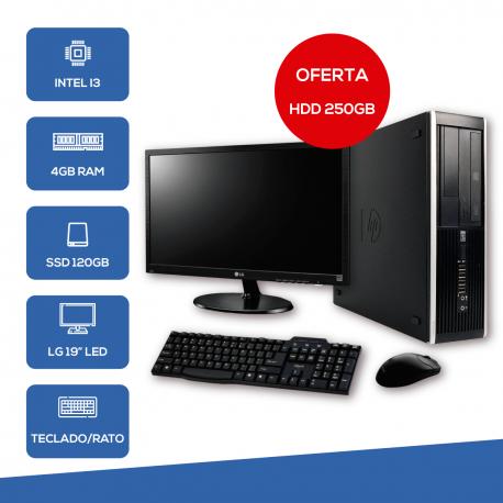 "Desktop Recondicionado HP 6200 i3-2Gen/4Gb/250Gb/W7PRO + Monitor LG 19"" + Teclado e Rato"