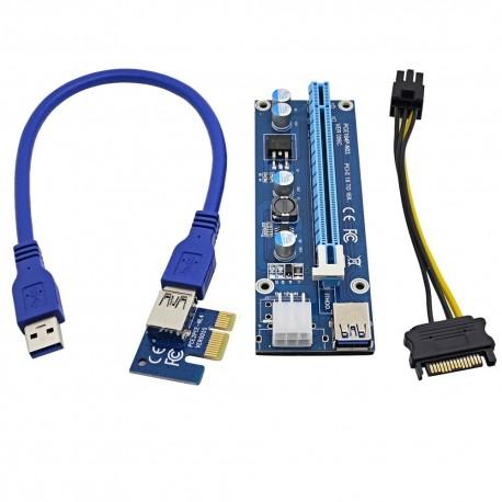 Riser PCI-e 1x 16x 60cm USB3 6pin 006C