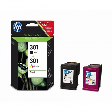Pack Tinteiro Original HP 301 Preto + Tricolor