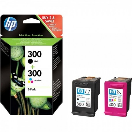 Pack HP 300 (CN637EE) Preto + Tricolor