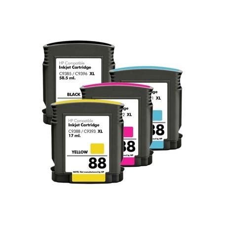Pack 4 Tinteiros Compatíveis HP 88 BK-C-M-Y