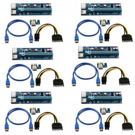 Pack 6 Riser PCI-e 1x 16x 60cm USB3 6pin 006C
