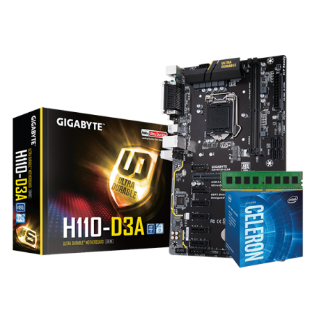 Kit Mining H110: GigaByte H110-D3A Bitcoin Edition | Intel Celeron G3930 | 4GB DDR4