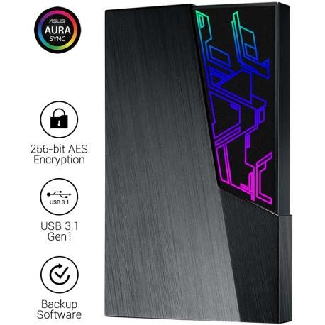 """Disco Externo 2.5"""" Asus FX 1TB Aura Sync RGB USB 3.1 Preto"""